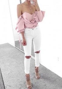 Blusa lisa cortada manga de codo de cinta para el pelo rosa