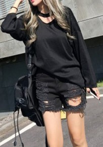 Black Plain Cut Out Comfy Open Back Long Sleeve T-Shirt