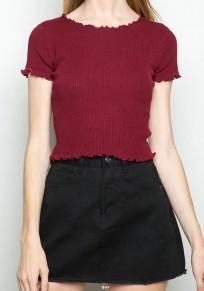 Burgundrot Einfarbige Crop Rundhals Kurzarm Sexy T-Shirt Mode Oberteile Damen