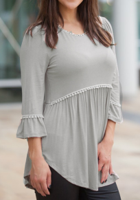 Grey Patchwork Lace Draped Round Neck 3/4 Sleeve Casual T-Shirt