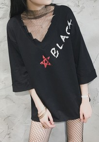 Black Monogram Patchwork Grenadine Hollow-out Print 3/4 Sleeve Fashion T-Shirt