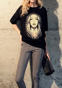 Black Figure Print Comfy Double Slit Half Sleeve Casual T-Shirt