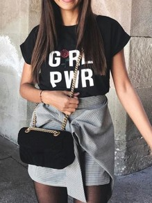 Black Monogram Print Comfy Round Neck Short Sleeve Casual T-Shirt