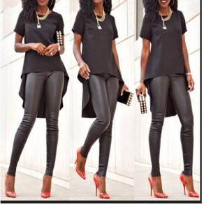 Black Irregular Swallowtail High-low Round Neck Short Sleeve Plus Size Cotton T-Shirt