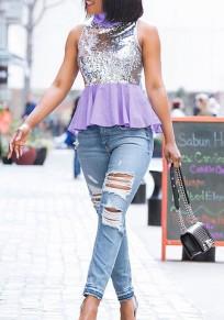 Purple-Silver Patchwork Sequin Peplum High Neck Sleeveless Club T-Shirt