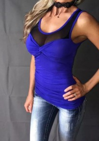 T-shirt grenade plissé transparent rond-cou bleu