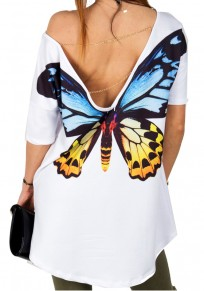White Butterfly Print Backless Irregular High-low Half Sleeve Oversized T-Shirt