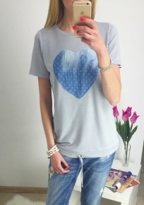 Grey Love Print Round Neck Short Sleeve T-Shirt