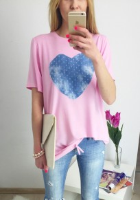 T-shirt love impression col rond manches courtes rose