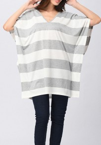 Grey-White Striped Tie Back Cut Out Short Sleeve Casual T-Shirt