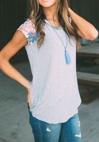 Grey Flowers Patchwork Cap Sleeve Round Neck Casual T-Shirt