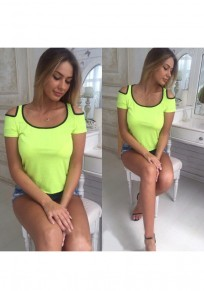Yellow Patchwork Cut Out Round Neck Short Sleeve Fashion T-Shirt
