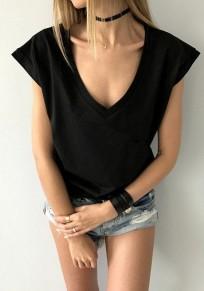 Black Draped Comfy Deep V-neck Cap Sleeve Casual T-Shirt