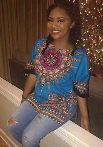 Blue Tribal Floral Print Round Neck Short Sleeve Oversized Vintage T-Shirt