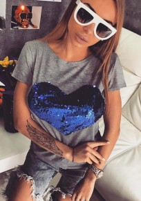 T-shirt love impression paillette rond-cou manches courtes mode gris