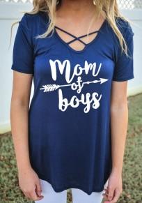 Camiseta impresión de el monograma cortada manga corta de gran tamaño casuales azul