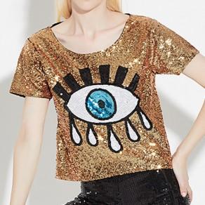 T-shirt les yeux imprimés brillamment manches courtes décontracté doré