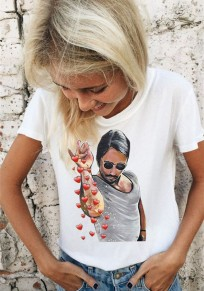 White Figure SaltBae Print Round Neck Short Sleeve Casual T-Shirt