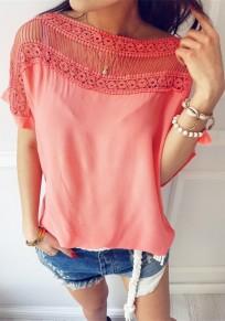 Rosa Flickwerk Ausgeschnitten Rundhals Kurzarm T-Shirt