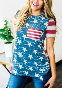 Multicolor Striped American Flag Print Pockets Round Neck Casual T-Shirt