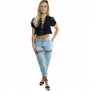 Black Lace-up Deep V-neck Ripped Destroyed Crop Oversize Casual T-Shirt