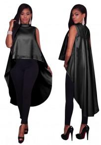 Black Swallowtail Zipper High-low Sleeveless Band Collar Oversize Casual T-Shirt