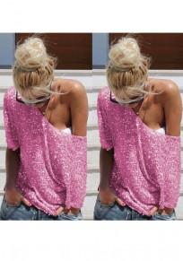 Pink Sequin Round Neck Elbow Sleeve Plus Size Fashion T-Shirt