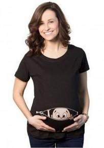 Grossesse t-shirt bébé furtivement motif mignon humour femme vetement noir