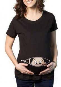 Camiseta estampado dibujos animados más tamaño maternidad manga corta cuello redondo negro