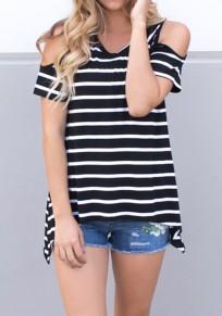 Camiseta impresión A rayas cortada manga corta casuales negro-blanco