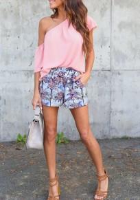 Pink Asymmetric Shoulder Oblique Shoulder Short Sleeve T-Shirt