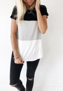 Schwarz-Weiß Patchwork Gestreiftes Rundhals Kurzarm Ärmelloses T-Shirt