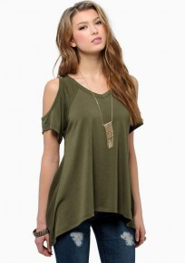 Green Cut Out Round Neck Short Sleeve T-Shirt