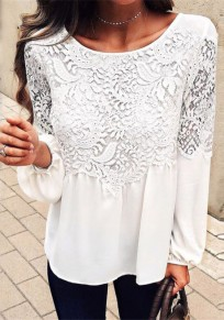 White Patchwork Lace Draped Lantern Sleeve Oversize Elegant T-shirt