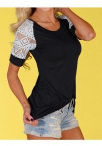 T-shirt dentelle col rond manches courtes mode noir