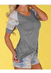 T-shirt dentelle col rond manches courtes mode gris