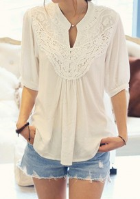 White Patchwork Lace Pleated V-neck Elbow Sleeve Casual T-Shirt