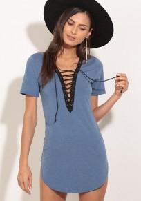 Blue Patchwork Drawstring Irregular Deep V-neck Short Sleeve Slim T-Shirt