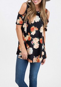 Black Floral Cut Out Off Shoulder Draped Short Sleeve Casual T-Shirt