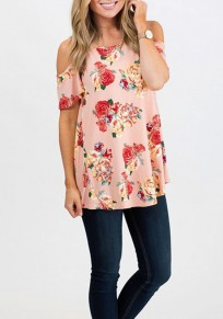 Pink Floral Cut Out Off Shoulder Draped Short Sleeve Casual T-Shirt