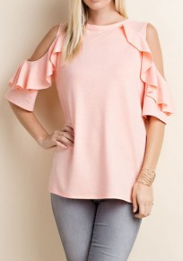 Pink Cut Out Off Shoulder Round Neck Short Sleeve T-Shirt