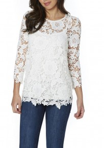 White Floral Cut Out Irregular Long Sleeve Fashion T-Shirt