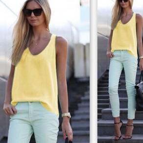 Yellow Irregular Scoop Neck Sleeveless Going out T-Shirt