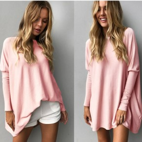 Pink Irregular Round Neck Long Sleeve Fashion T-Shirt