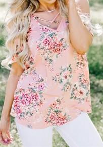 Rosa Blumen aus Schulter Ausschnitt V-Ausschnitt Kurzarm T-Shirt