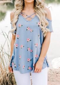 Blue Floral Off Shoulder Cut Out V-neck Short Sleeve T-Shirt