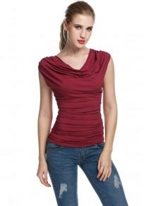 Wine Red Irregular Pleated Deep V-neck Sleeveless T-Shirt