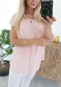 Pink Studded Round Neck Short Sleeve Casual T-Shirt