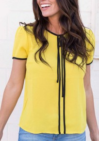 Yellow Drawstring Round Neck Short Sleeve Casual T-Shirt