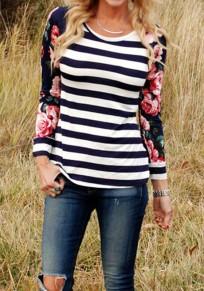 Blau Flickwerk Blumenprint Gestreift Drapiert Langarm Beiläufige T-Shirt Damen Oberteile